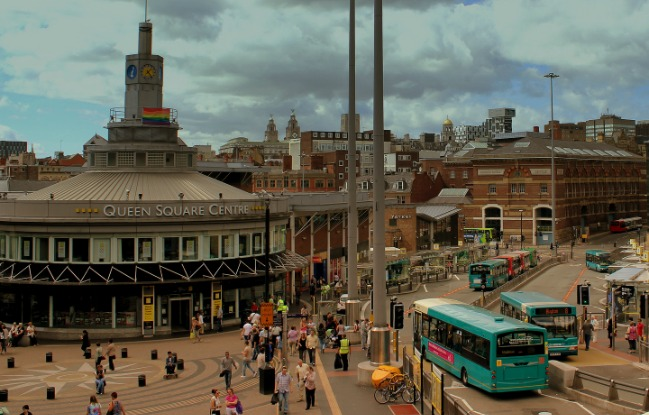 Queen Square bus station in Liverpool. Photo by calflier001 via Flickr